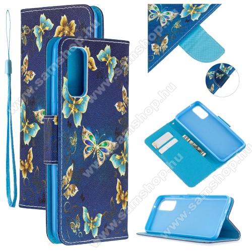 Notesz tok / flip tok - KÉK PILLANGÓ MINTÁS - asztali tartó funkciós, oldalra nyíló, rejtett mágneses záródás, bankkártyatartó zseb, szilikon belső - SAMSUNG Galaxy A51 (SM-A515F)