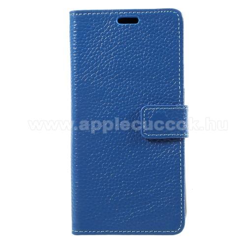 Notesz tok / flip tok - KÉK - valódi bőr, asztali tartó funkciós, oldalra nyíló, rejtett mágneses záródás, bankkártyatartó zseb, szilikon belső - APPLE iPhone X / APPLE iPhone XS