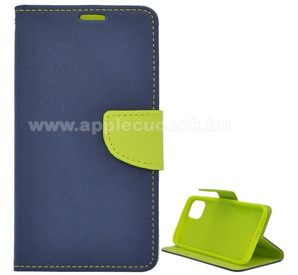 Notesz tok / flip tok - KÉK / ZÖLD - asztali tartó funkciós, oldalra nyíló, rejtett mágneses záródás, bankkártyatartó zseb, szilikon belső, textil minta - APPLE iPhone 11 Pro Max