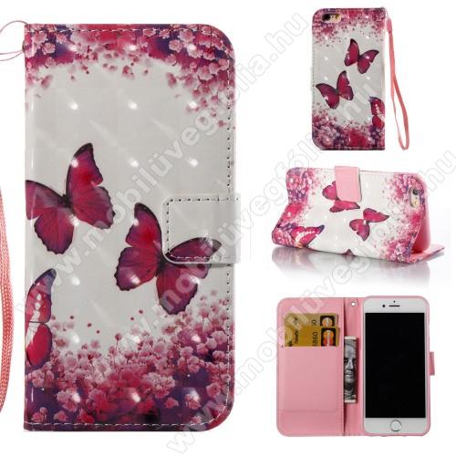 Notesz tok / flip tok - LEPKE MINTÁS - asztali tartó funkciós, oldalra nyíló, rejtett mágneses záródás, bankkártya tartó zseb, szilikon belső, csuklópánt - APPLE iPhone 6 / APPLE iPhone 6s