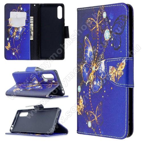 Notesz tok / flip tok - LEPKE MINTÁS - KÉK - asztali tartó funkciós, oldalra nyíló, rejtett mágneses záródás, bankkártyatartó zseb, szilikon belső - SONY Xperia L4 (2020)