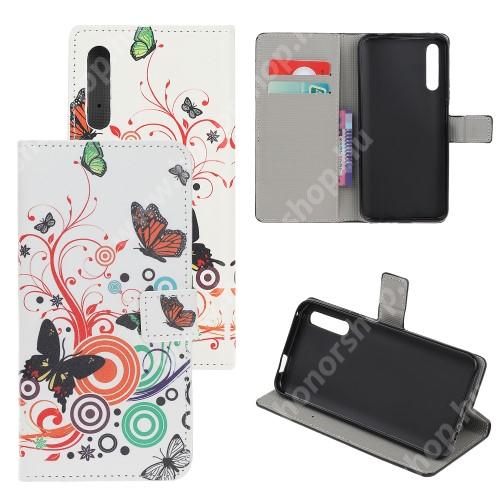 HUAWEI Honor 9X (For China market)Notesz tok / flip tok - LEPKE / VIRÁG MINTÁS - asztali tartó funkciós, oldalra nyíló, rejtett mágneses záródás, bankkártyatartó zseb, szilikon belső - HUAWEI P smart Pro (2019) / HUAWEI Y9s / Honor 9X (For China market) / Honor 9X Pro (For China)