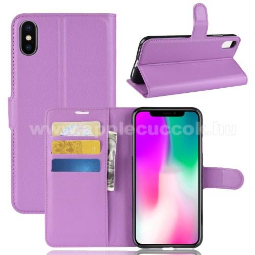 Notesz tok / flip tok - LILA - asztali tartó funkciós, oldalra nyíló, rejtett mágneses záródás, bankkártyatartó zseb, szilikon belső - APPLE iPhone Xr