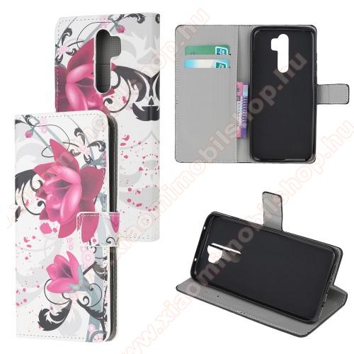 Notesz tok / flip tok - LÓTUSZVIRÁG MINTÁS - asztali tartó funkciós, oldalra nyíló, rejtett mágneses záródás, bankkártyatartó zseb, szilikon belső - Xiaomi Redmi Note 8 Pro