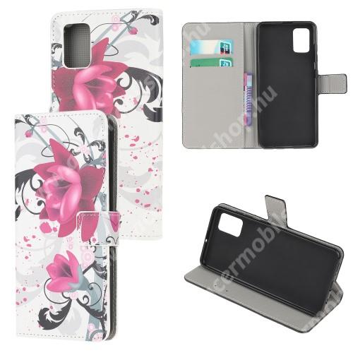 Notesz tok / flip tok - LÓTUSZVRIÁG MINTÁS - asztali tartó funkciós, oldalra nyíló, rejtett mágneses záródás, bankkártyatartó zseb, szilikon belső - SAMSUNG Galaxy A51 (SM-A515F)