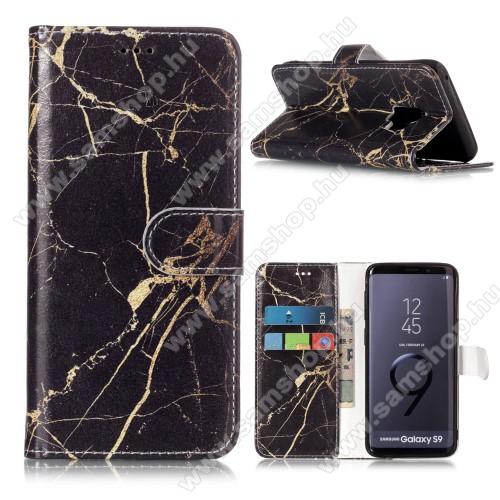 Notesz tok / flip tok - MÁRVÁNY MINTÁS - asztali tartó funkciós, oldalra nyíló, rejtett mágneses záródás, bankkártya tartó zseb, szilikon belső - SAMSUNG SM-G960 Galaxy S9