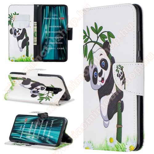 Notesz tok / flip tok - PANDA MINTÁS - asztali tartó funkciós, oldalra nyíló, rejtett mágneses záródás, bankkártyatartó zseb, szilikon belső - Xiaomi Redmi Note 8 Pro