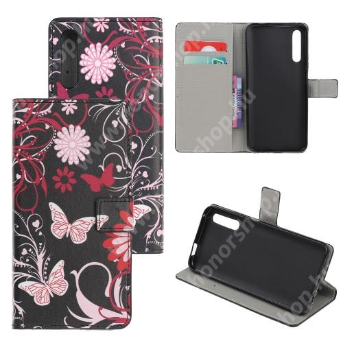HUAWEI Honor 9X (For China market)Notesz tok / flip tok - PILLANGÓ / VIRÁG MINTÁS - asztali tartó funkciós, oldalra nyíló, rejtett mágneses záródás, bankkártyatartó zseb, szilikon belső - HUAWEI P smart Pro (2019) / HUAWEI Y9s / Honor 9X (For China market) / Honor 9X Pro (For China)
