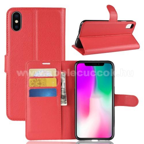 Notesz tok / flip tok - PIROS - asztali tartó funkciós, oldalra nyíló, rejtett mágneses záródás, bankkártyatartó zseb, szilikon belső - APPLE iPhone Xr