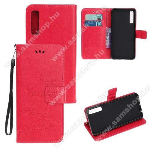 Notesz tok / flip tok - PIROS - GRAVÍROZOTT VIRÁG ÉS PILLANGÓ MINTÁS - asztali tartó funkciós, oldalra nyíló, rejtett mágneses záródás, bankkártyatartó zseb, szilikon belső - SAMSUNG Galaxy A30s / Galaxy A50 / Galaxy A50s
