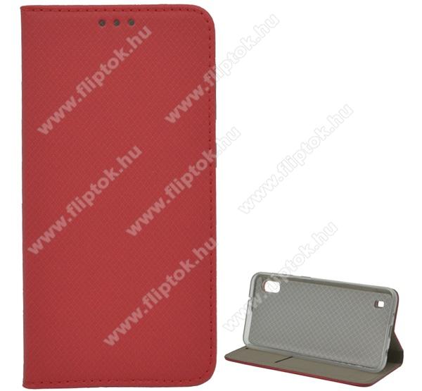 Notesz tok / flip tok - PIROS - rombusz mintás, asztali tartó funkciós, oldalra nyíló, bankkártya tartó zseb, szilikon belső - SAMSUNG SM-A105F Galaxy A10