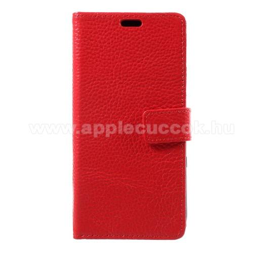 Notesz tok / flip tok - PIROS - valódi bőr, asztali tartó funkciós, oldalra nyíló, rejtett mágneses záródás, bankkártyatartó zseb, szilikon belső - APPLE iPhone X / APPLE iPhone XS