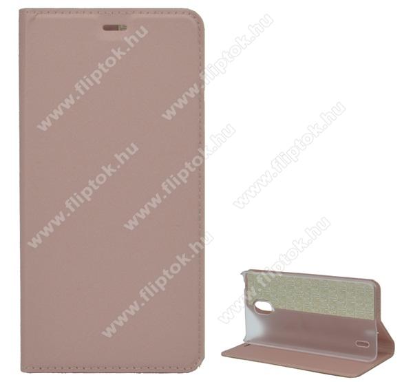 Notesz tok / flip tok - ROSE GOLD - asztali tartó funkciós, oldalra nyíló, szilikon belső - NOKIA 1 Plus