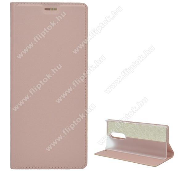 Notesz tok / flip tok - ROSE GOLD - asztali tartó funkciós, oldalra nyíló, szilikon belső - SONY Xperia 1