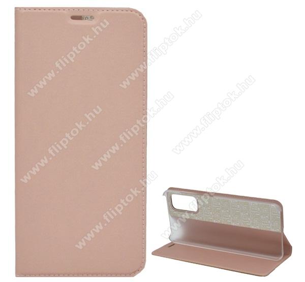 Notesz tok / flip tok - ROSE GOLD - asztali tartó funkciós, oldalra nyíló, műanyag belső - SAMSUNG Galaxy S20 (SM-G980F) / SAMSUNG Galaxy S20 5G (SM-G981)