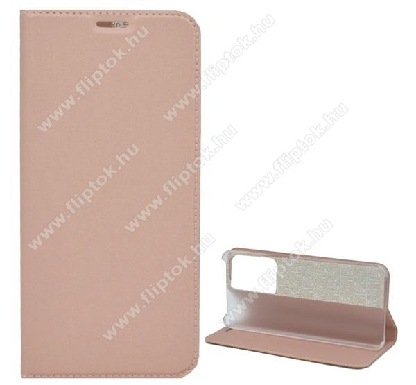Notesz tok / flip tok - ROSE GOLD - asztali tartó funkciós, oldalra nyíló, műanyag belső - SAMSUNG Galaxy S20 Plus (SM-G985F) / SAMSUNG Galaxy S20 Plus 5G (SM-G986)