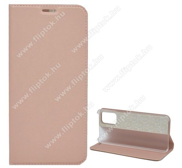 Notesz tok / flip tok - ROSE GOLD - asztali tartó funkciós, oldalra nyíló, műanyag belső - SAMSUNG Galaxy S20 Ultra (SM-G988F) / SAMSUNG Galaxy S20 Ultra 5G (SM-G988)