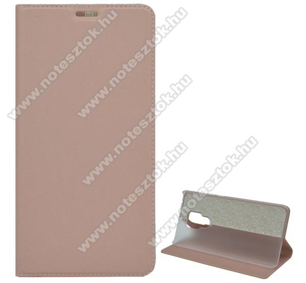 Notesz tok / flip tok - ROSE GOLD - asztali tartó funkciós, oldalra nyíló, műanyag belső - HUAWEI Mate 20 X / HUAWEI Mate 20 X 5G