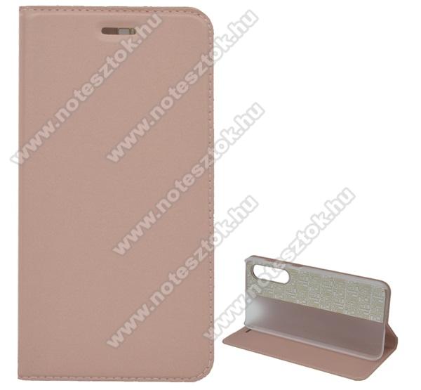 Notesz tok / flip tok - ROSE GOLD - asztali tartó funkciós, oldalra nyíló, műanyag belső - Xiaomi Mi 9 SE