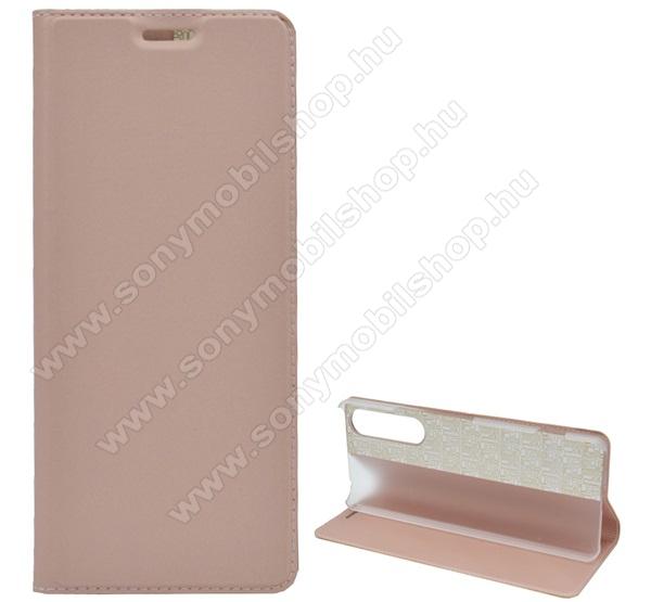 Notesz tok / flip tok - ROSE GOLD - asztali tartó funkciós, oldalra nyíló, műanyag belső - SONY Xperia 1 II (2020)