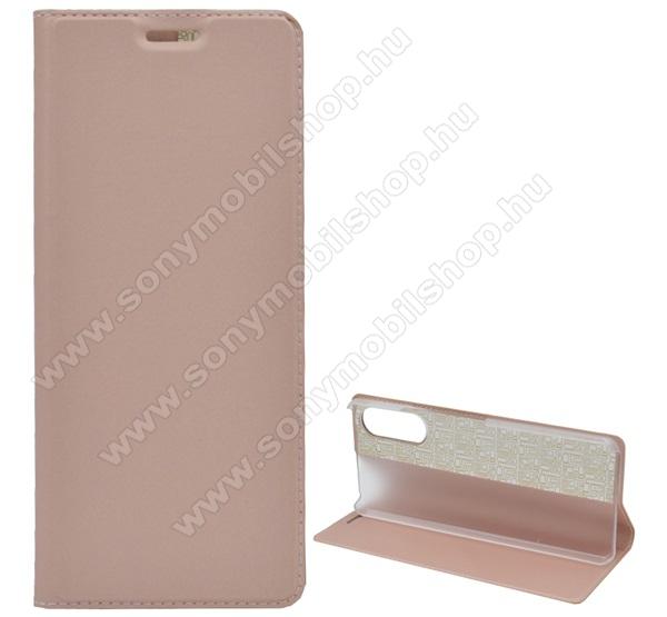 Notesz tok / flip tok - ROSE GOLD - asztali tartó funkciós, oldalra nyíló, műanyag belső - SONY Xperia 10 II
