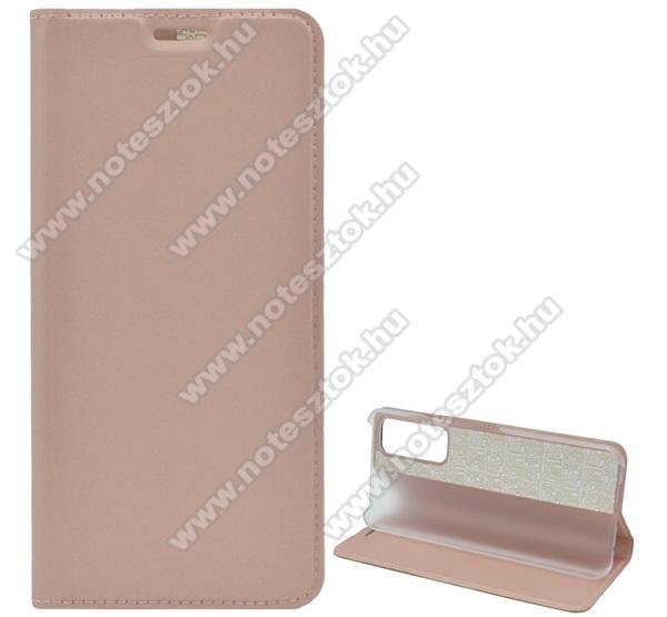 Notesz tok / flip tok - ROSE GOLD - asztali tartó funkciós, oldalra nyíló, műanyag belső - HUAWEI P smart (2021) / HUAWEI Y7a