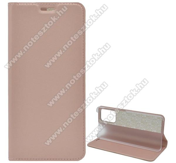 Notesz tok / flip tok - ROSE GOLD - asztali tartó funkciós, oldalra nyíló, műanyag belső - SAMSUNG A72 4G (SM-A725F)