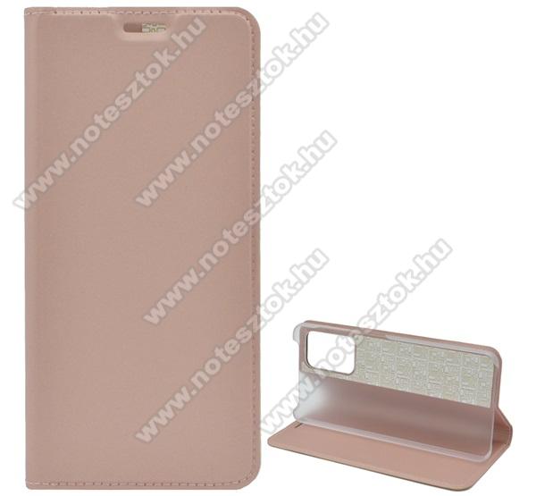 Notesz tok / flip tok - ROSE GOLD - asztali tartó funkciós, oldalra nyíló, műanyag belső - SAMSUNG Galaxy A52 4G (SM-A525F)
