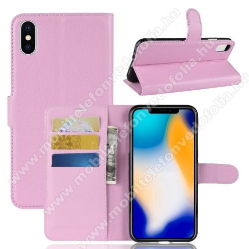 Notesz tok / flip tok - RÓZSASZÍN - asztali tartó funkciós, oldalra nyíló, rejtett mágneses záródás, bankkártyatartó zseb, szilikon belső - APPLE iPhone XS Max