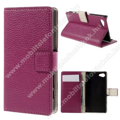 Notesz tok / flip tok - RÓZSASZÍN - asztali tartó funkciós, oldalra nyíló, rejtett mágneses záródás, bankkártyatartó zseb - SONY Xperia Z5 Compact