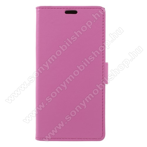 Notesz tok / flip tok - RÓZSASZÍN - asztali tartó funkciós, oldalra nyíló, rejtett mágneses záródás, bankkártyatartó zseb, szilikon belső - Sony Xperia XZ1