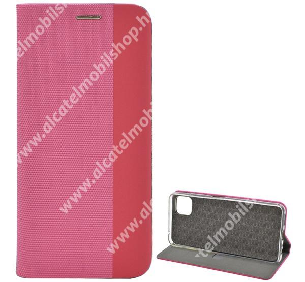 Notesz tok / flip tok - RÓZSASZÍN - szövettel bevont, asztali tartó funkciós, oldalra nyíló, bankkártya tartó zseb, szilikon belső - SAMSUNG Galaxy A22 5G (SM-A226) / Galaxy F42 5G (SM-E426B/DS)