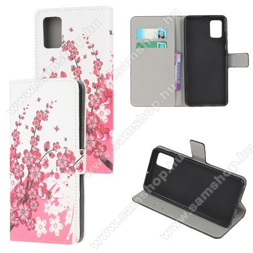 Notesz tok / flip tok - RÓZSASZÍN VIRÁG MINTÁS - asztali tartó funkciós, oldalra nyíló, rejtett mágneses záródás, bankkártyatartó zseb, szilikon belső - SAMSUNG Galaxy A51 (SM-A515F)