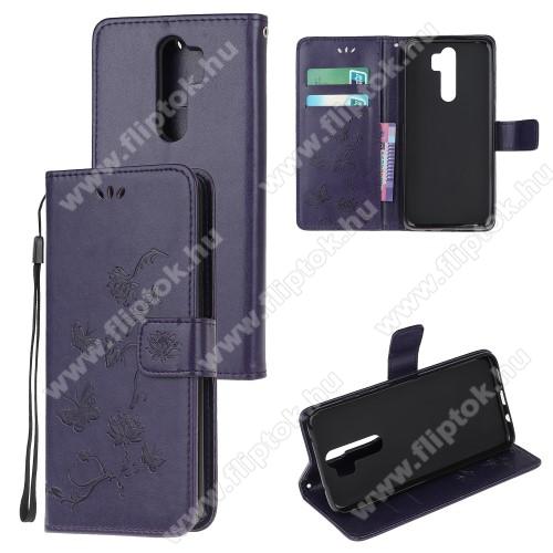 Notesz tok / flip tok - SÖTÉT LILA - GRAVÍROZOTT VIRÁG ÉS PILLANGÓ MINTÁS - asztali tartó funkciós, oldalra nyíló, rejtett mágneses záródás, bankkártyatartó zseb, szilikon belső - Xiaomi Redmi Note 8 Pro