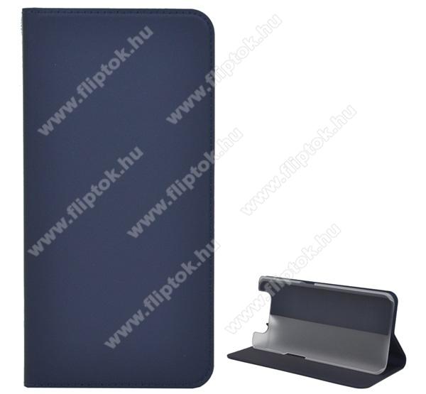 Notesz tok / flip tok - SÖTÉTKÉK - asztali tartó funkciós, oldalra nyíló, szilikon belső - SAMSUNG SM-A805F Galaxy A80 / SAMSUNG SM-A905F Galaxy A90