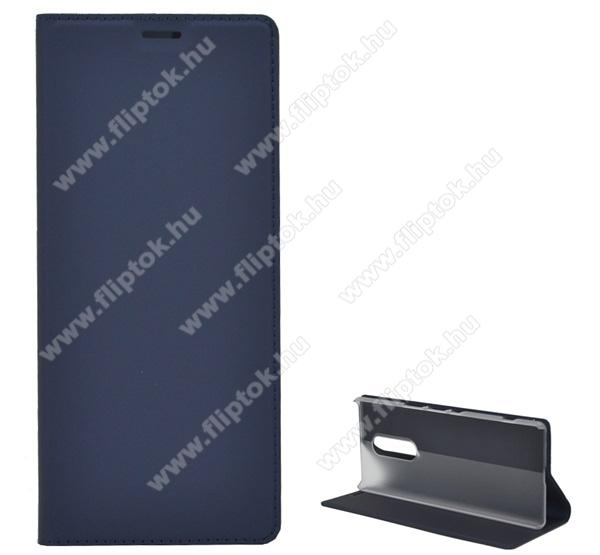 Notesz tok / flip tok - SÖTÉTKÉK - asztali tartó funkciós, oldalra nyíló, szilikon belső - SONY Xperia 1