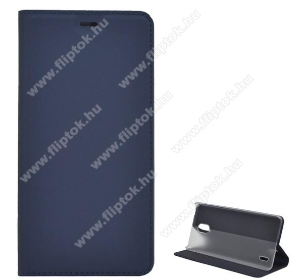 Notesz tok / flip tok - SÖTÉTKÉK - asztali tartó funkciós, oldalra nyíló, szilikon belső - NOKIA 1 Plus