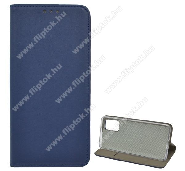 Notesz tok / flip tok - SÖTÉTKÉK - asztali tartó funkciós, oldalra nyíló, szilikon belső - SAMSUNG Galaxy S20 Plus (SM-G985F) / SAMSUNG Galaxy S20 Plus 5G (SM-G986)
