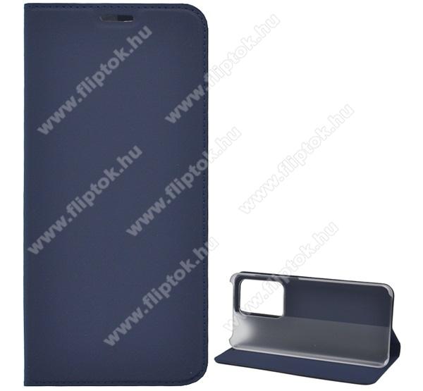 Notesz tok / flip tok - SÖTÉTKÉK - asztali tartó funkciós, oldalra nyíló, műanyag belső - SAMSUNG Galaxy S20 Ultra (SM-G988F) / SAMSUNG Galaxy S20 Ultra 5G (SM-G988)
