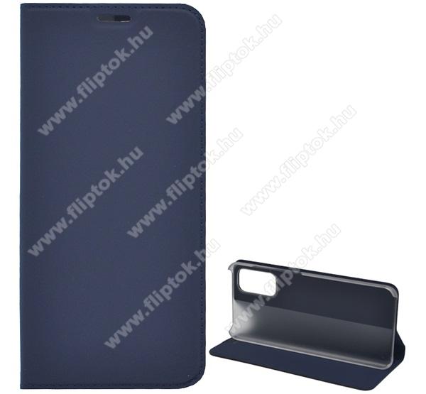 Notesz tok / flip tok - SÖTÉTKÉK - asztali tartó funkciós, oldalra nyíló, műanyag belső - SAMSUNG Galaxy S20 (SM-G980F) / SAMSUNG Galaxy S20 5G (SM-G981)