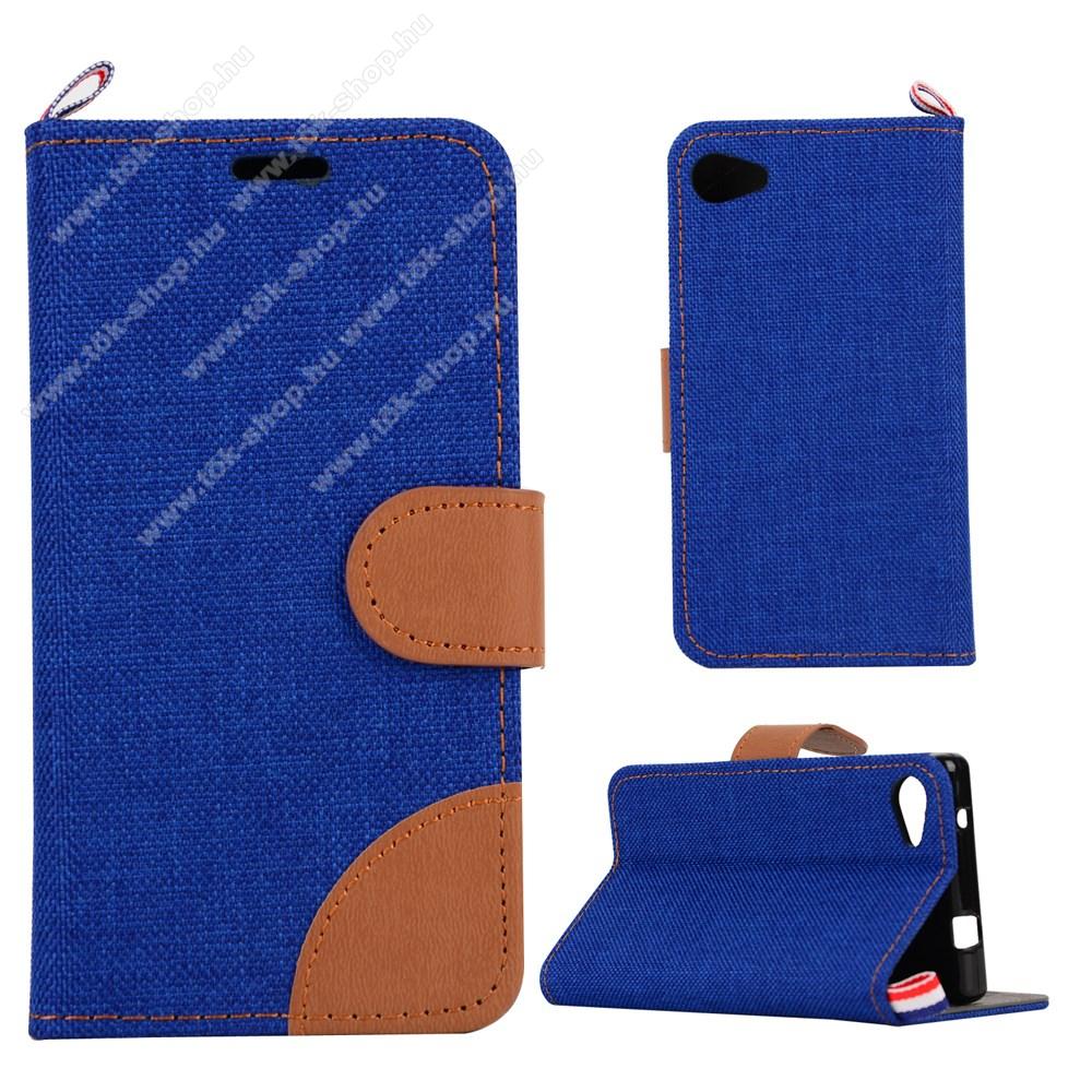 Notesz tok / flip tok - SÖTÉTKÉK - asztali tartó funkciós, oldalra nyíló, rejtett mágneses záródás, bankkártya tartó zsebekkel, szilikon belső - Xperia Z5 Compact