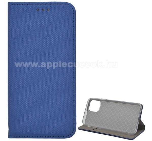 Notesz tok / flip tok - SÖTÉTKÉK - rombusz mintás, rejtett mágneses záródás, asztali tartó funkciós, oldalra nyíló, bankkártya tartó zseb, szilikon belső - APPLE iPhone 11