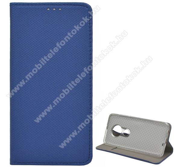 Notesz tok / flip tok - SÖTÉTKÉK - rombusz mintás, rejtett mágneses záródás, asztali tartó funkciós, oldalra nyíló, bankkártya tartó zseb, szilikon belső - NOKIA 6.2 / NOKIA 7.2
