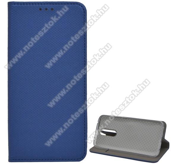 Notesz tok / flip tok - SÖTÉTKÉK - rombusz mintás, rejtett mágneses záródás, asztali tartó funkciós, oldalra nyíló, bankkártya tartó zseb, szilikon belső - Xiaomi Redmi 8 / Xiaomi Redmi 8A