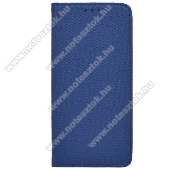 Notesz tok / flip tok - SÖTÉTKÉK - rombusz mintás, rejtett mágneses záródás, asztali tartó funkciós, oldalra nyíló, bankkártya tartó zseb, szilikon belső - SAMSUNG Galaxy S20 Ultra (SM-G988F) / SAMSUNG Galaxy S20 Ultra 5G (SM-G988)