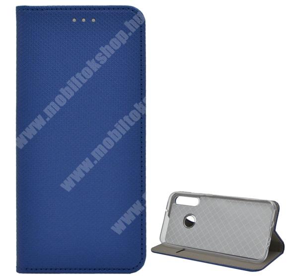 Notesz tok / flip tok - SÖTÉTKÉK - rombusz mintás, rejtett mágneses záródás, asztali tartó funkciós, oldalra nyíló, bankkártya tartó zseb, szilikon belső - HUAWEI P40 Lite E / HUAWEI Y7p / Honor 9C
