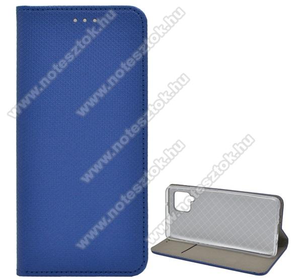 Notesz tok / flip tok - SÖTÉTKÉK - rombusz mintás, rejtett mágneses záródás, asztali tartó funkciós, oldalra nyíló, bankkártya tartó zseb, szilikon belső - SAMSUNG Galaxy A42 5G (SM-A425F)