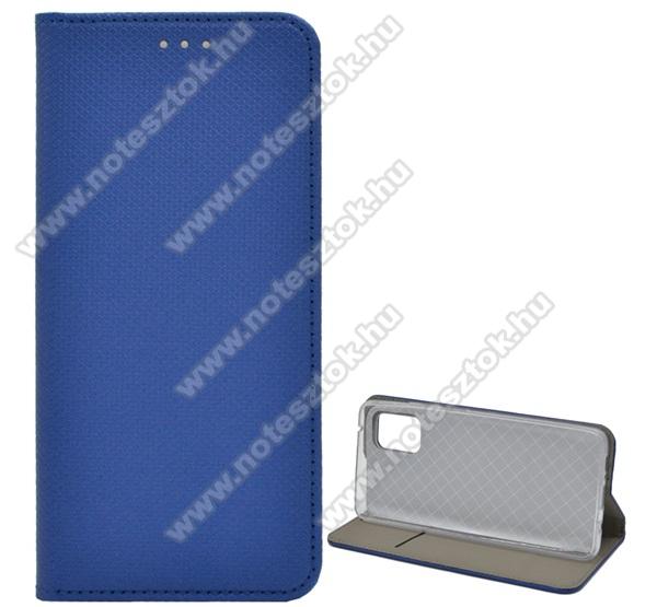 Notesz tok / flip tok - SÖTÉTKÉK - rombusz mintás, rejtett mágneses záródás, asztali tartó funkciós, oldalra nyíló, bankkártya tartó zseb, szilikon belső - SAMSUNG Galaxy A51 5G (SM-A516F)