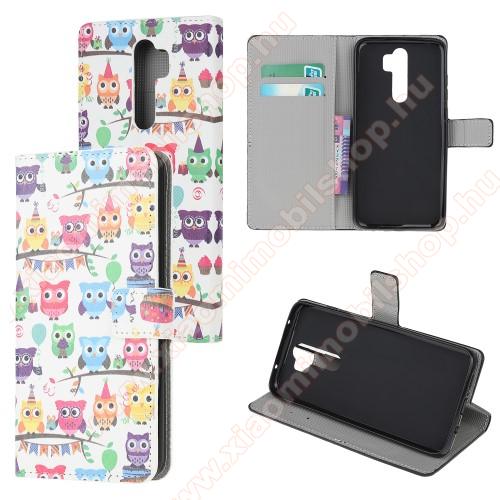 Notesz tok / flip tok - SZÍNES BAGOLY MINTÁS - asztali tartó funkciós, oldalra nyíló, rejtett mágneses záródás, bankkártyatartó zseb, szilikon belső - Xiaomi Redmi Note 8 Pro