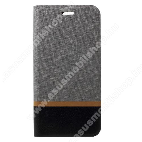 Notesz tok / flip tok - SZÜRKE - asztali tartó funkciós, oldalra nyíló, bankkártya tartó zsebekkel, szilikon belső - ASUS Zenfone 4 Pro (ZS551KL)